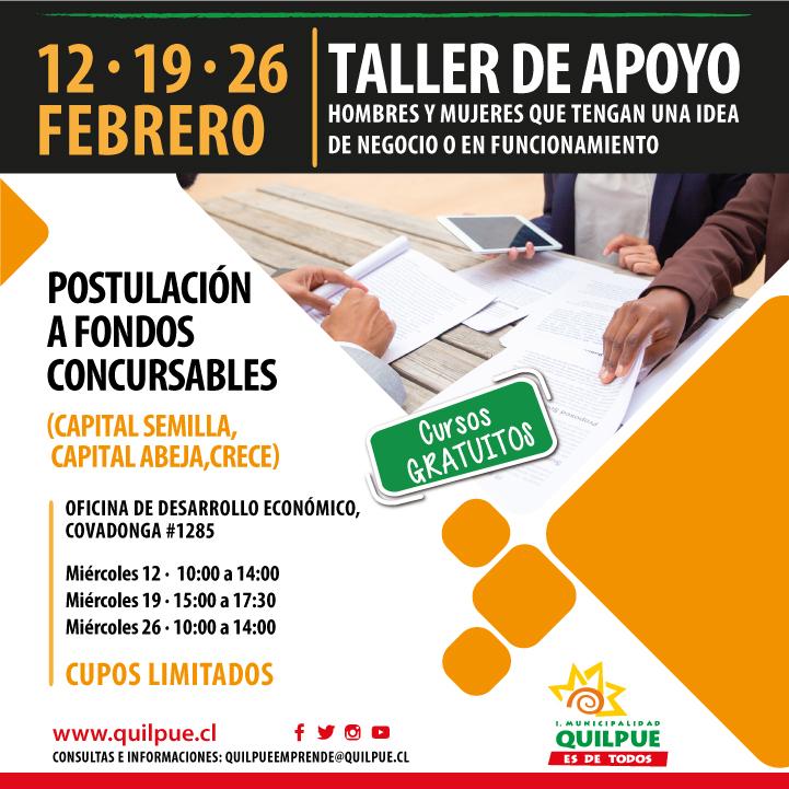 Taller de Apoyo Postulación a Fondos Concursables (Capital Semilla, Capital Abeja, Crece).